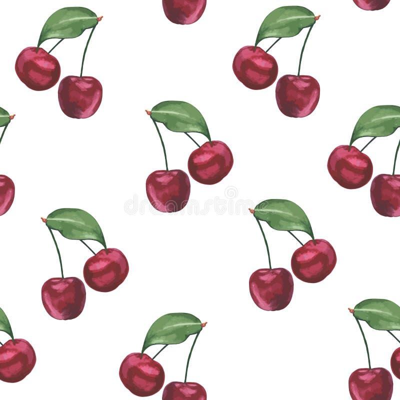 水彩樱桃样式 库存例证