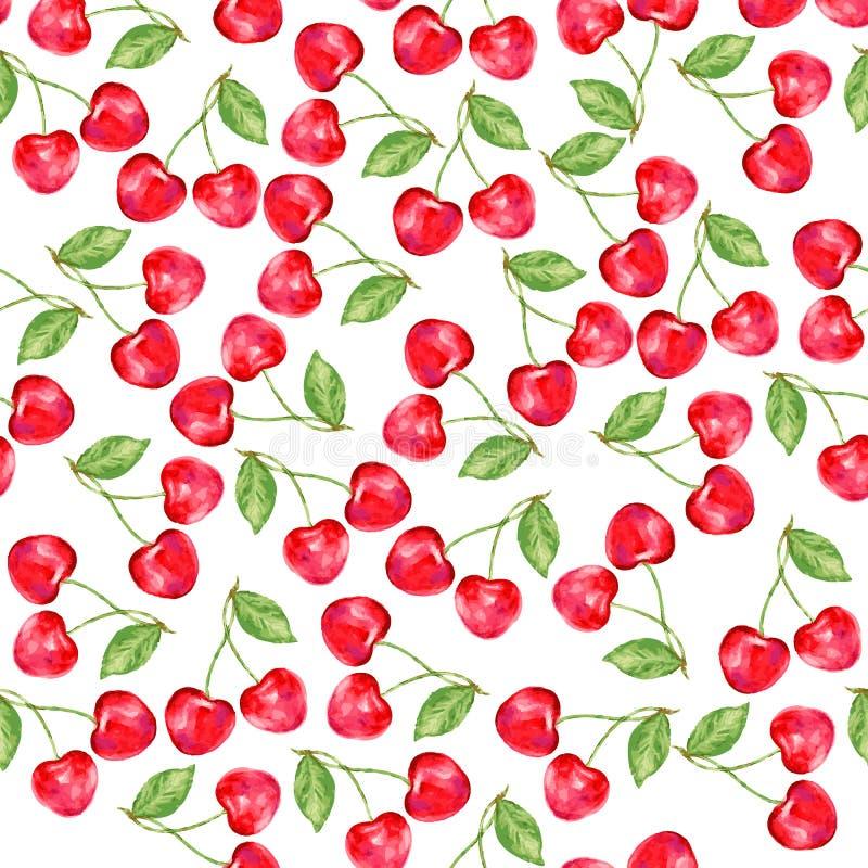 水彩樱桃,装饰品用莓果,自然题材,无缝的样式,礼物盒的,墙纸, backgroun水彩油漆 向量例证