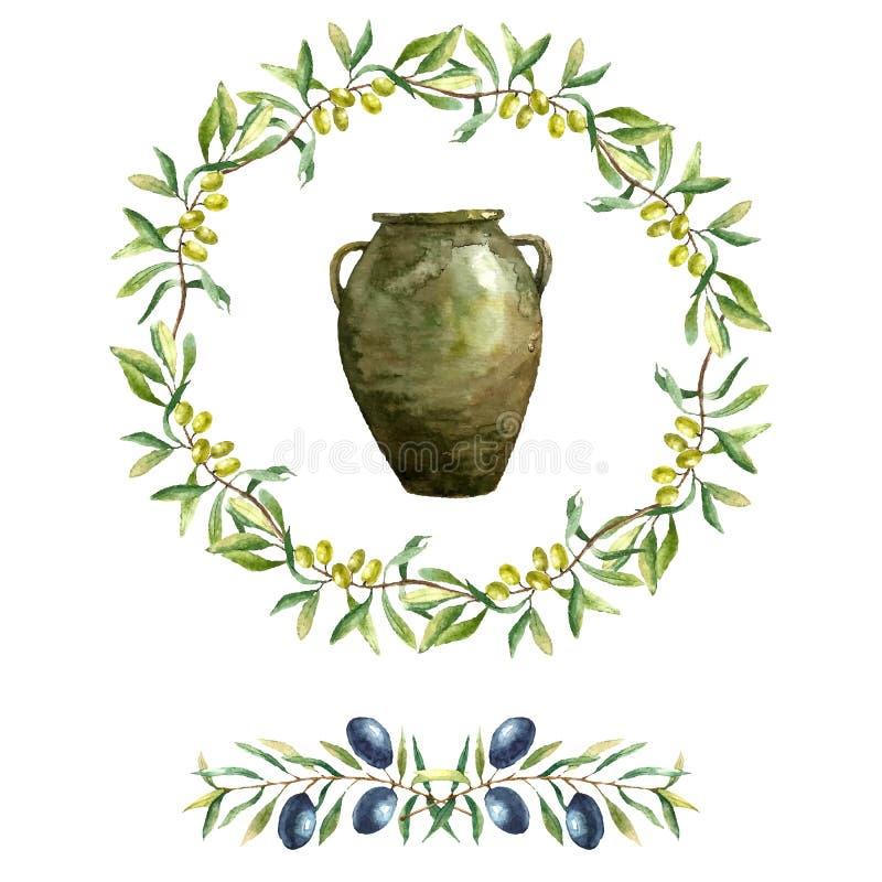 水彩橄榄树枝背景 皇族释放例证