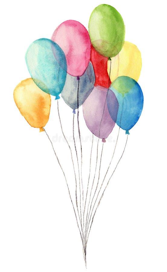 水彩气球 在白色背景隔绝的蓝色,桃红色,黄色,紫色气球的手画例证 党或g 库存例证