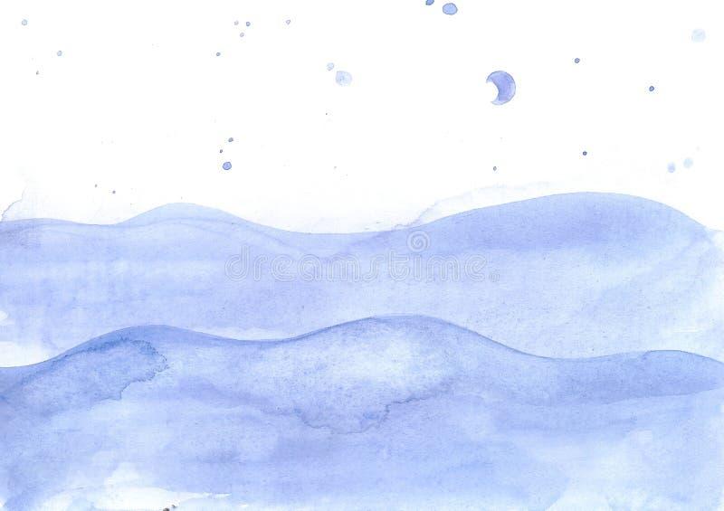 水彩海安静挥动背景,有蓝色下落的海洋 库存例证
