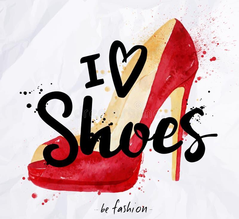 水彩海报字法我爱鞋子 皇族释放例证