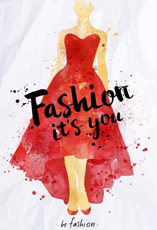 水彩海报它字法的时尚您 向量例证
