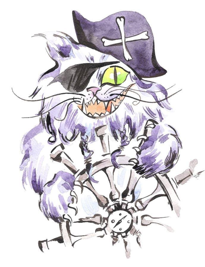 水彩海盗猫 与海盗帽子、眼睛补丁和方向盘的风格化水手猫 库存例证