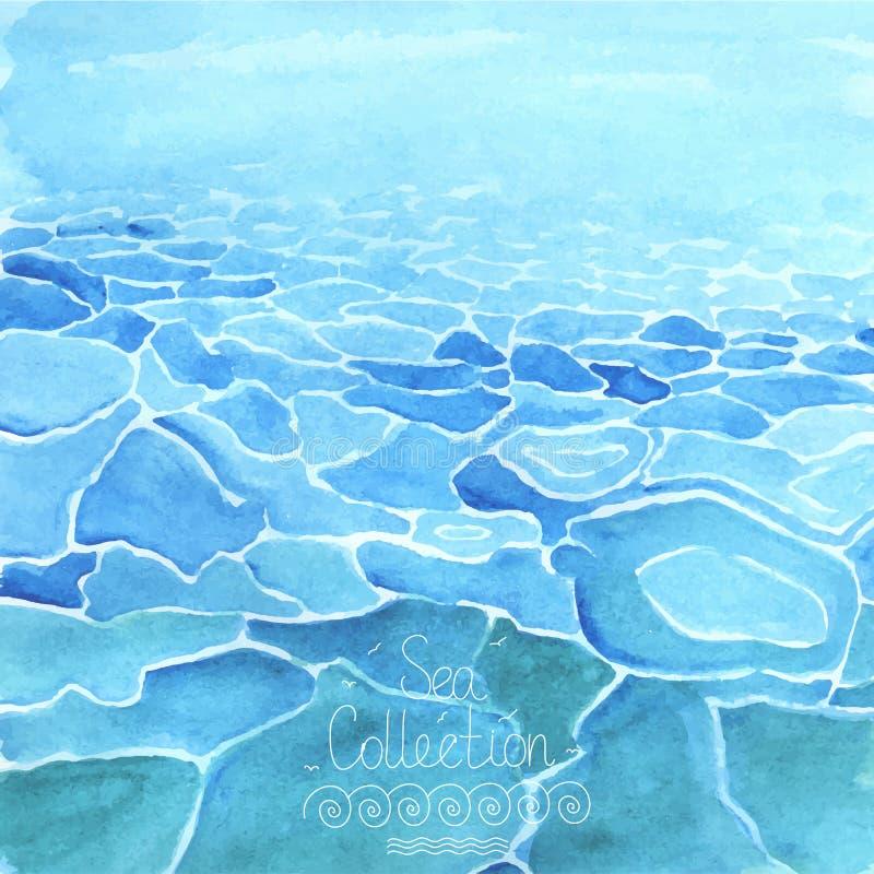 水彩海背景 皇族释放例证