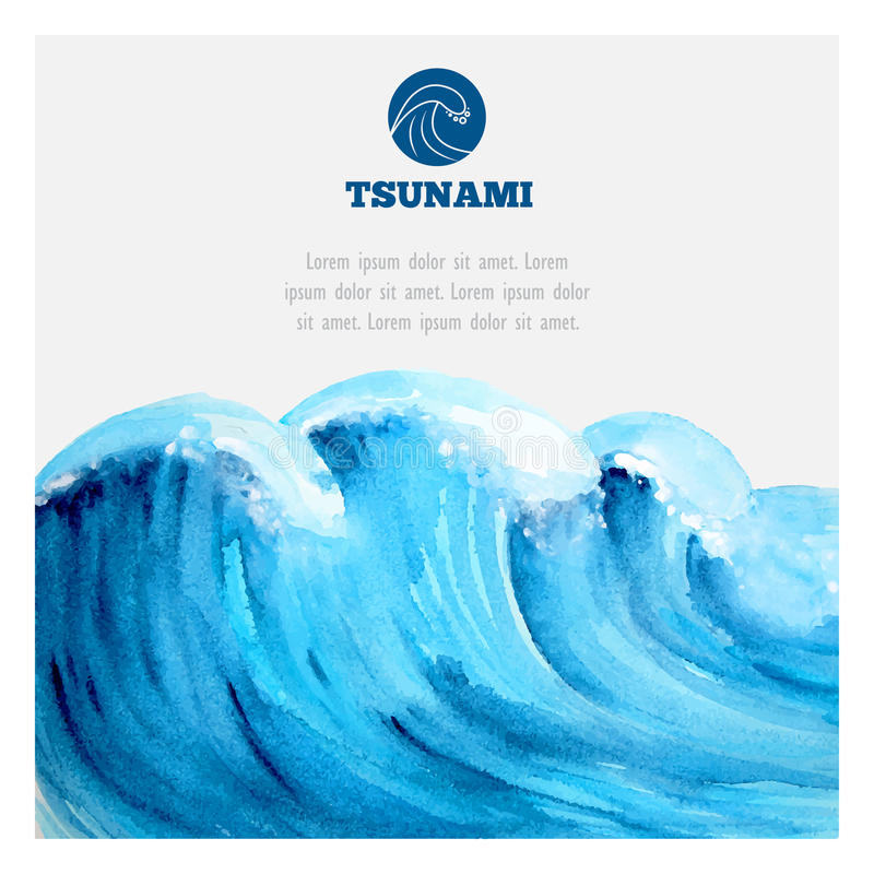 水彩海洋海啸波浪 向量例证