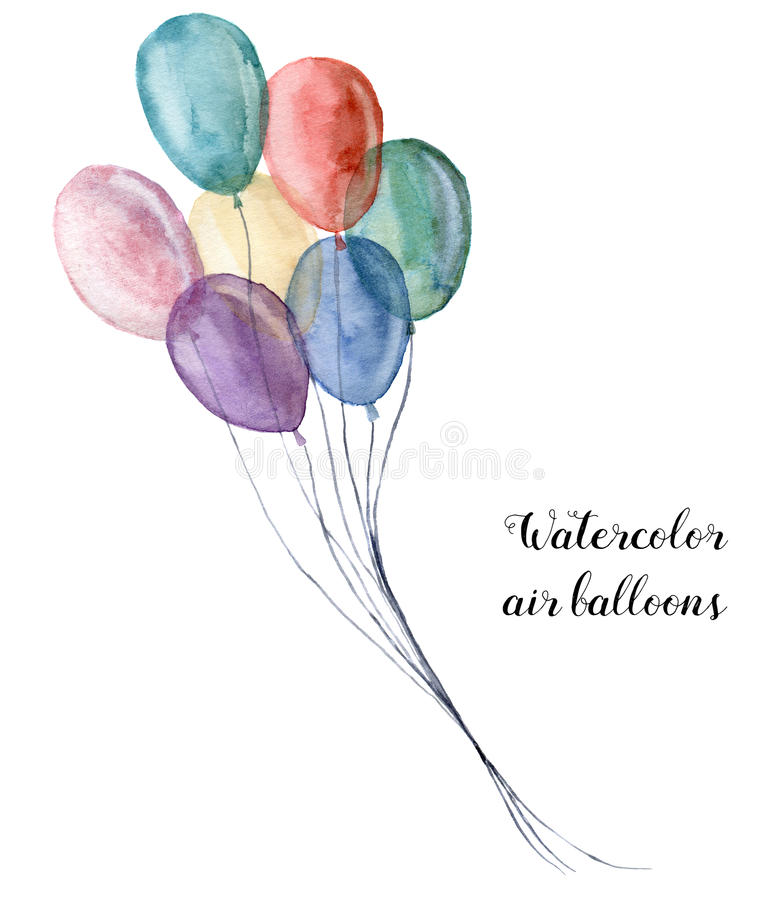 水彩淡色气球 在白色背景隔绝的手画党对象 设计的问候对象或 向量例证