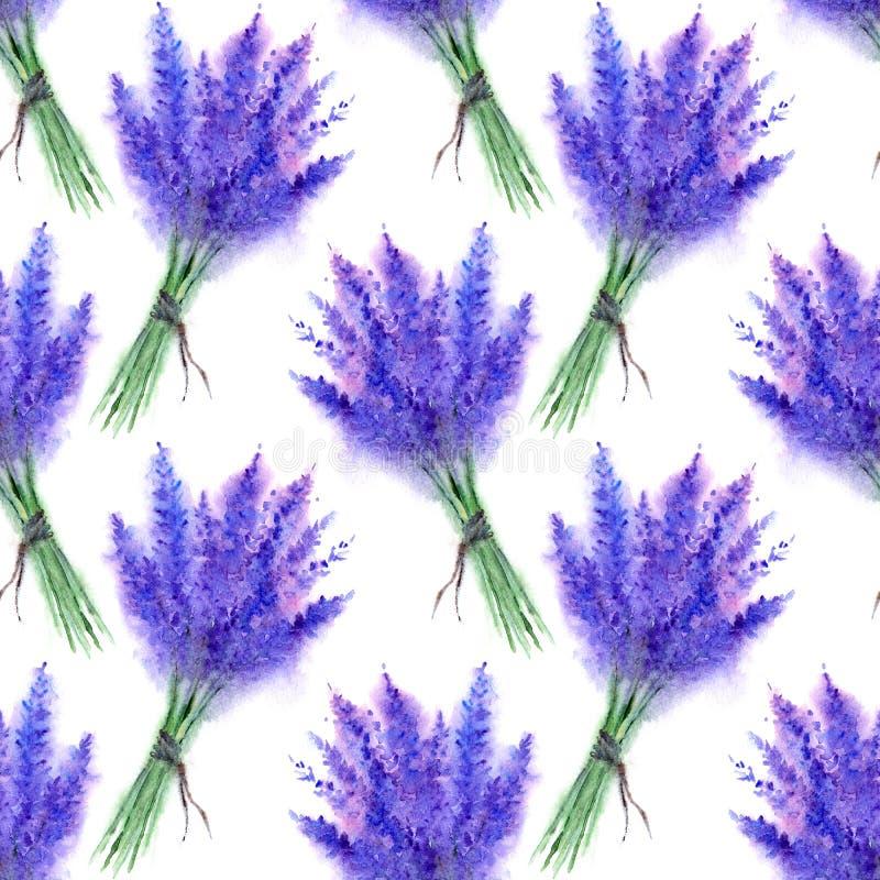 水彩淡紫色花百花香无缝的样式纹理背景 皇族释放例证