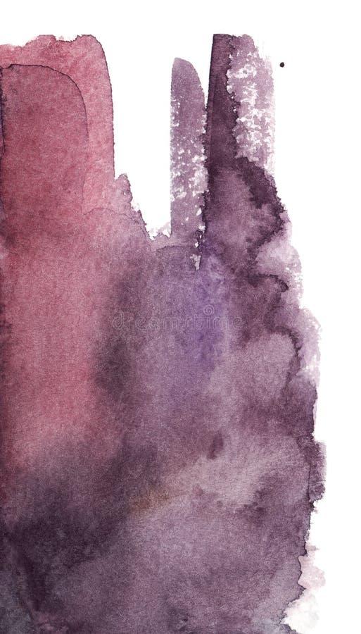 水彩淡紫色紫罗兰色紫色桃红色棕色污点斑点摘要纸纹理背景 库存例证