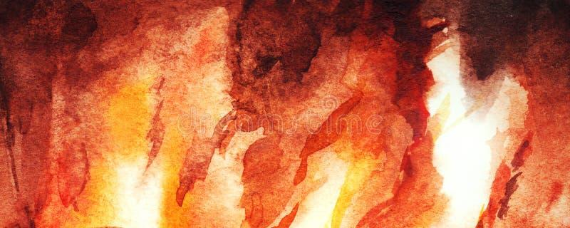 水彩火火焰壁炉摘要纹理背景 皇族释放例证