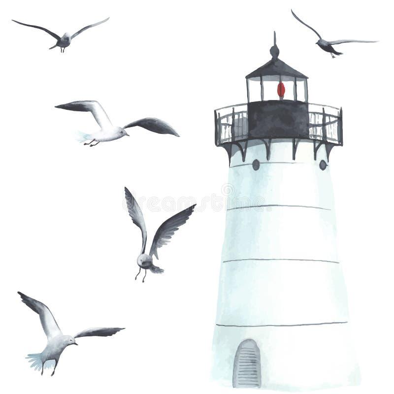 水彩灯塔和海鸥 向量例证