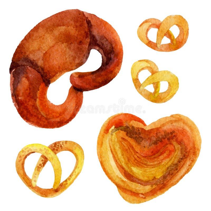 水彩烘烤元素 甜的小圆面包 库存例证