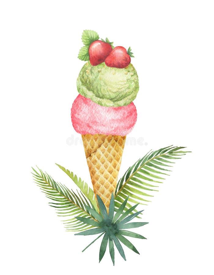 水彩热带叶子和奶蛋烘饼锥体与开心果冰淇凌和果子装饰用草莓 皇族释放例证