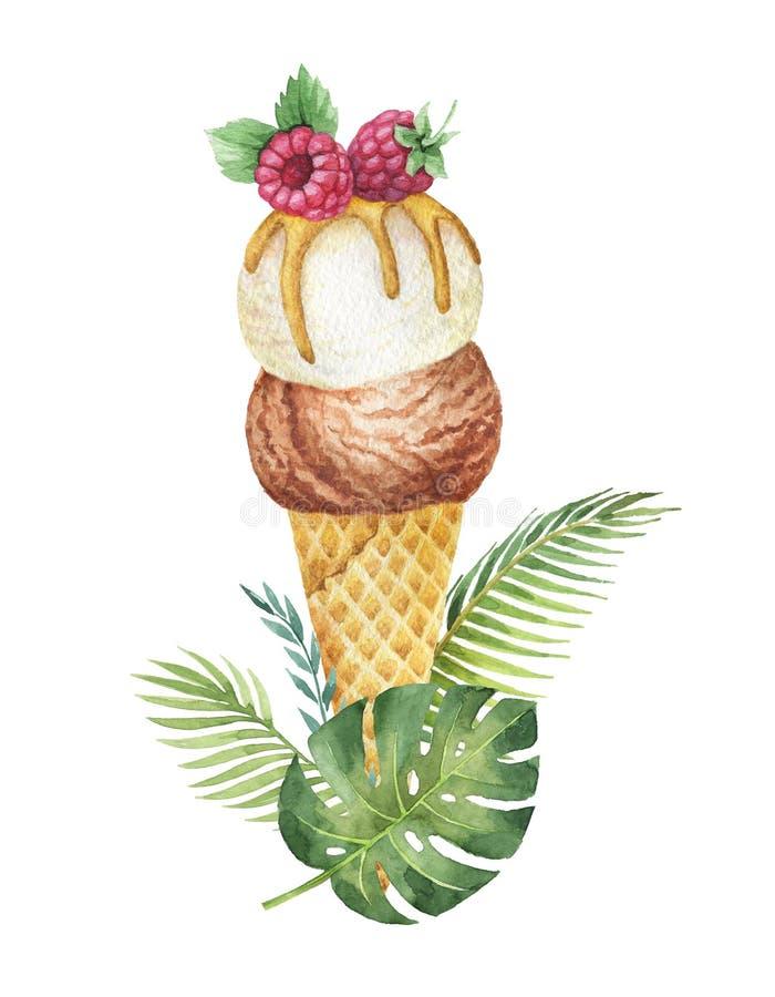 水彩热带叶子和奶蛋烘饼锥体用巧克力和香草冰淇淋装饰用莓 皇族释放例证