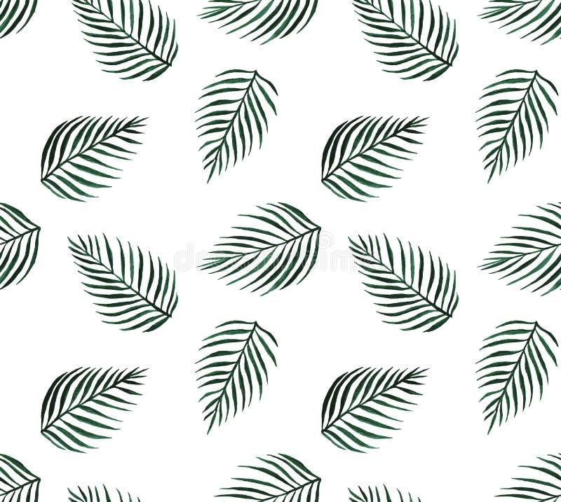 水彩热带无缝的样式棕榈叶 皇族释放例证