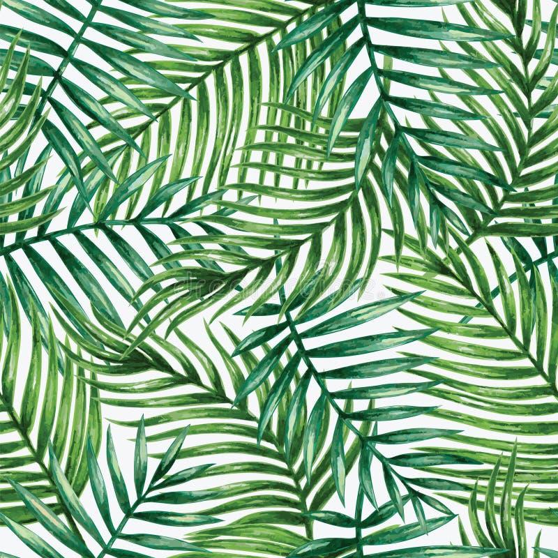 水彩热带棕榈叶无缝的样式 库存例证
