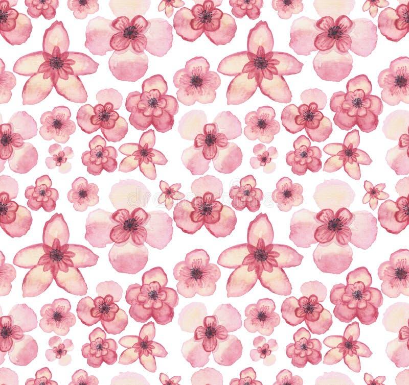 水彩热带浅粉红色的花重复样式 库存例证