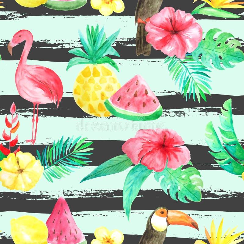 水彩热带花卉无缝的样式 皇族释放例证