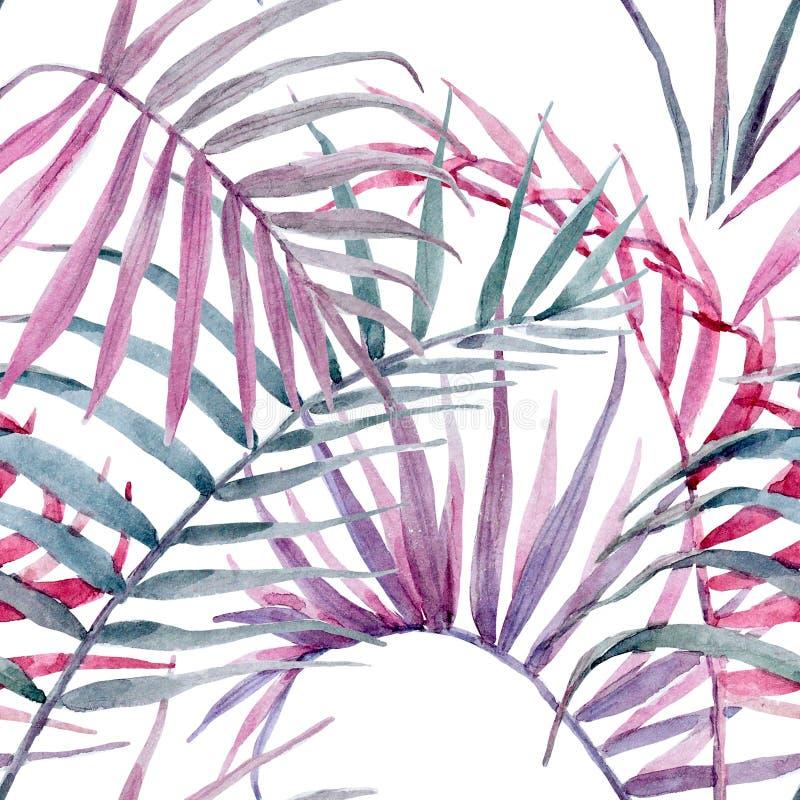 水彩热带花卉样式 向量例证
