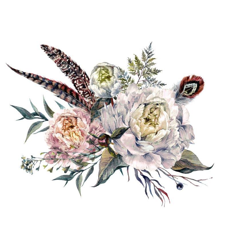 水彩牡丹Boho花束 向量例证