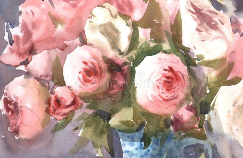 水彩玫瑰花 皇族释放例证