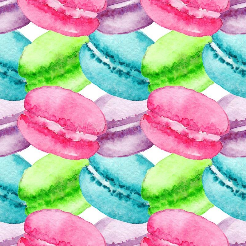 水彩甜点心果子莓果蛋白杏仁饼干无缝的样式背景纹理 向量例证