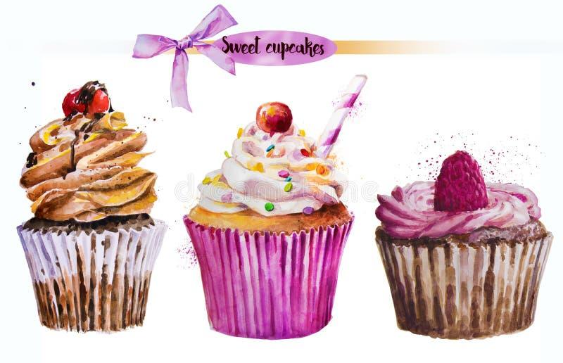 水彩甜点杯形蛋糕 皇族释放例证