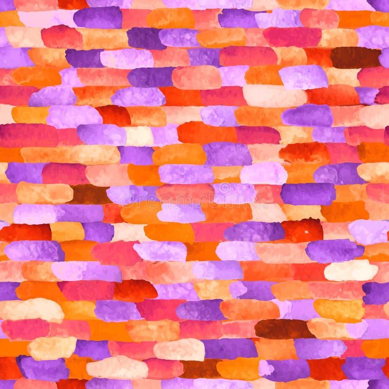 水彩砖 抽象模式无缝的向量 皇族释放例证