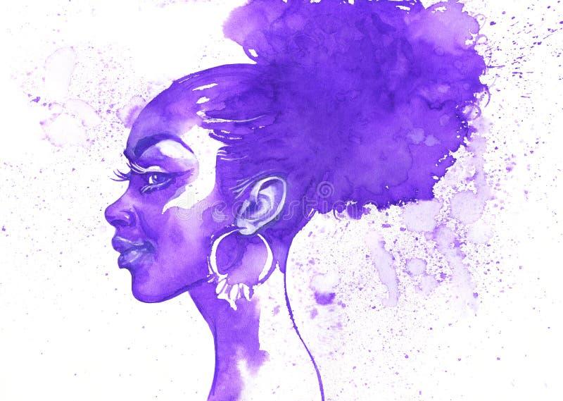 水彩秀丽非洲人妇女 与飞溅的手拉的抽象时尚画象 向量例证