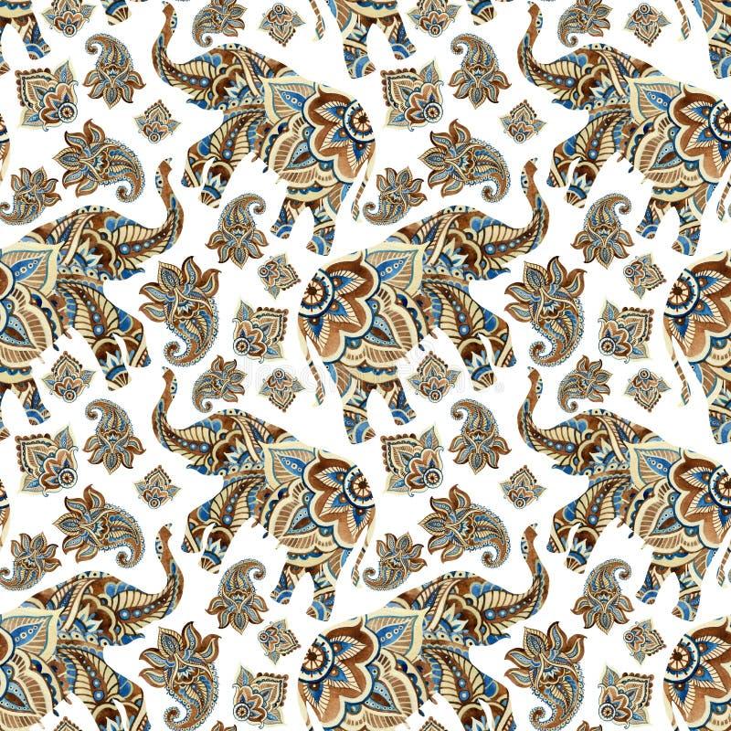 水彩种族大象有佩兹利元素背景 向量例证