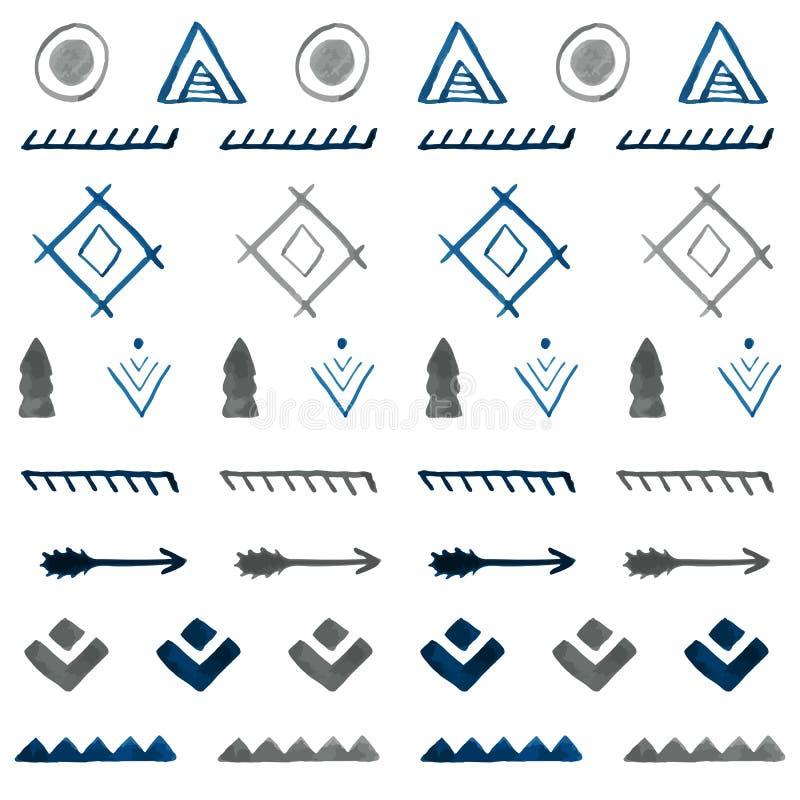 水彩种族无缝的样式 手拉的部族摘要b 皇族释放例证