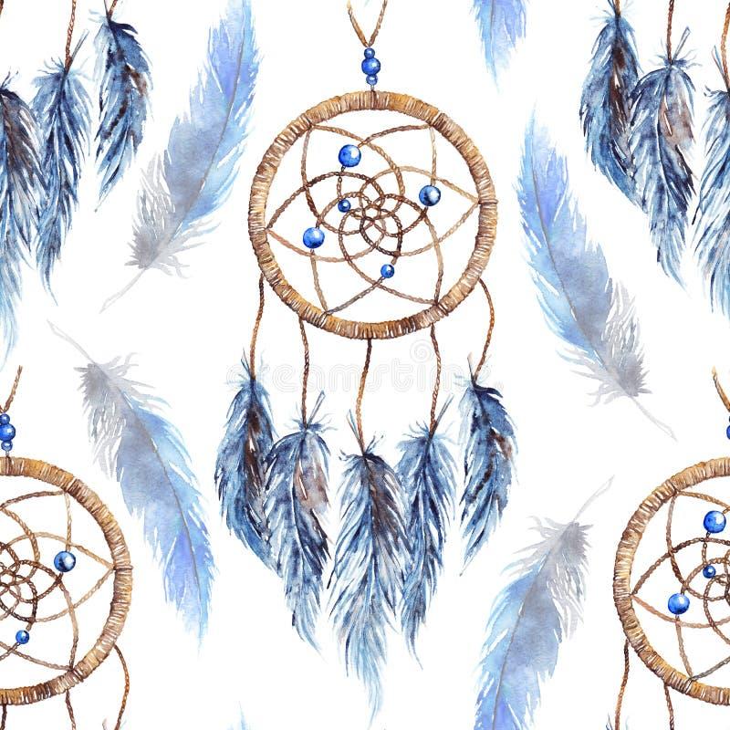 水彩种族部族手工制造羽毛梦想俘获器无缝的样式 向量例证