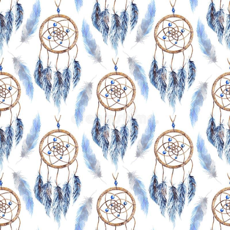 水彩种族部族手工制造羽毛梦想俘获器无缝的样式 库存例证