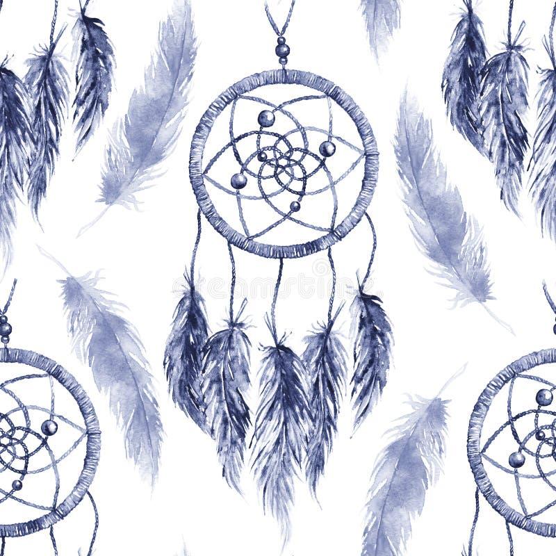 水彩种族部族手工制造羽毛梦想俘获器无缝的样式 皇族释放例证