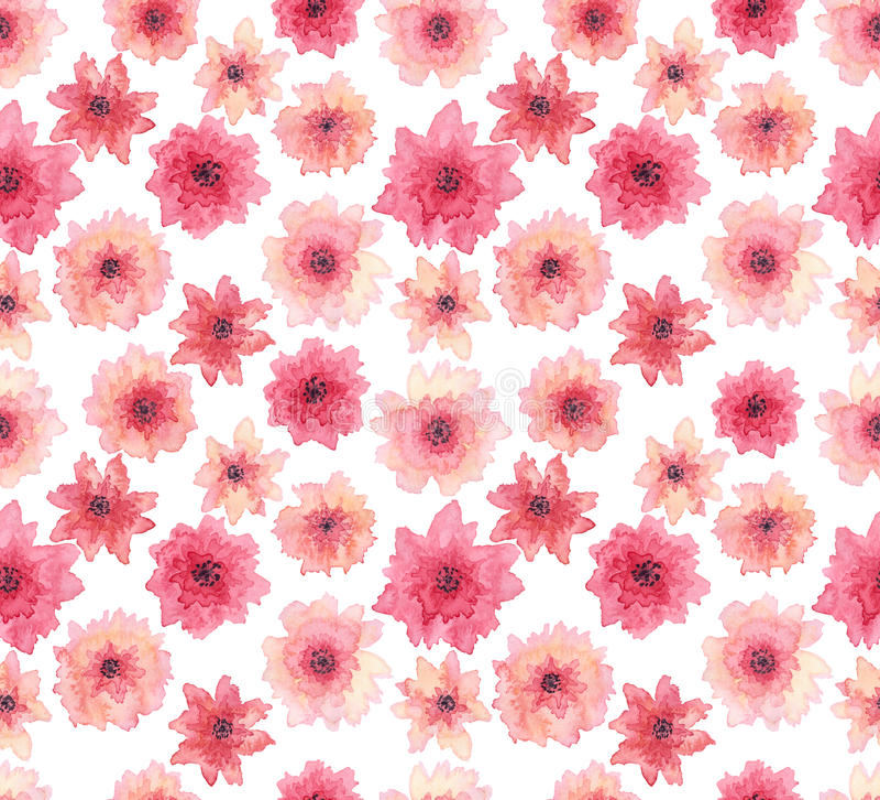 水彩精美桃红色花无缝的重复样式 库存例证