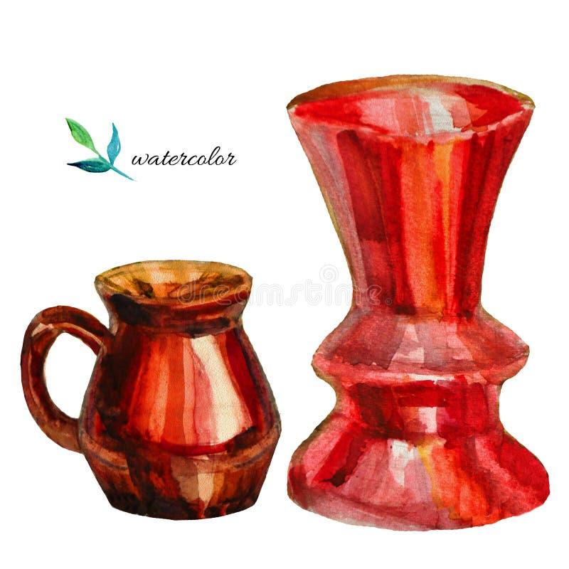 水彩红色花瓶和投手在白色 库存例证