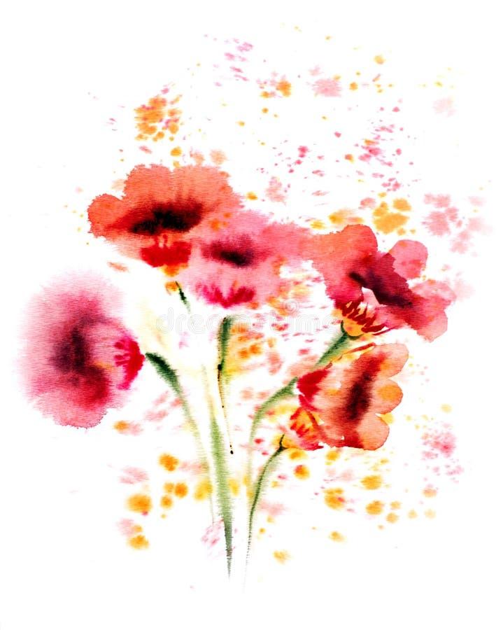 水彩红色花 向量例证