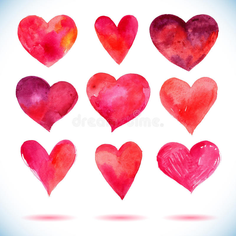 水彩红色绘了心脏集合,您的设计的传染媒介元素 皇族释放例证