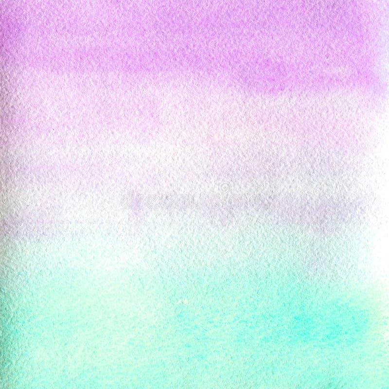 水彩纹理透明大理石桃红色和蓝色颜色 水彩抽象背景 水平的梯度 皇族释放例证