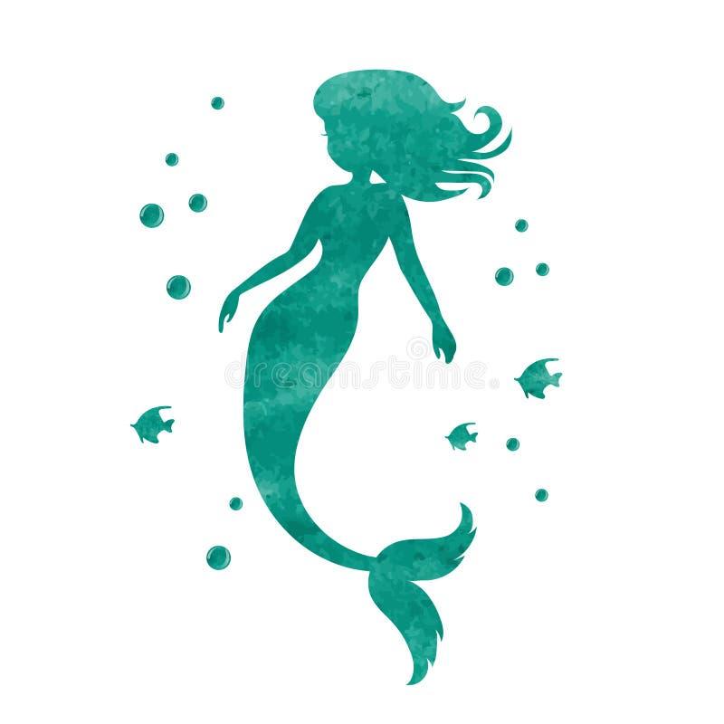 水彩美人鱼剪影 向量例证