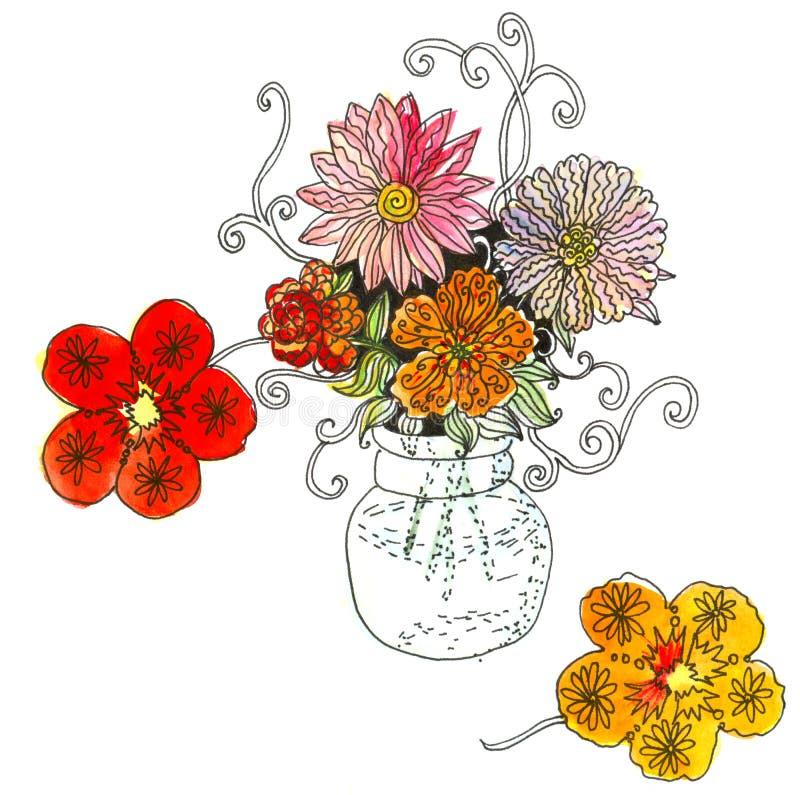 水彩美好的夏天乱画花束在花瓶开花 库存例证