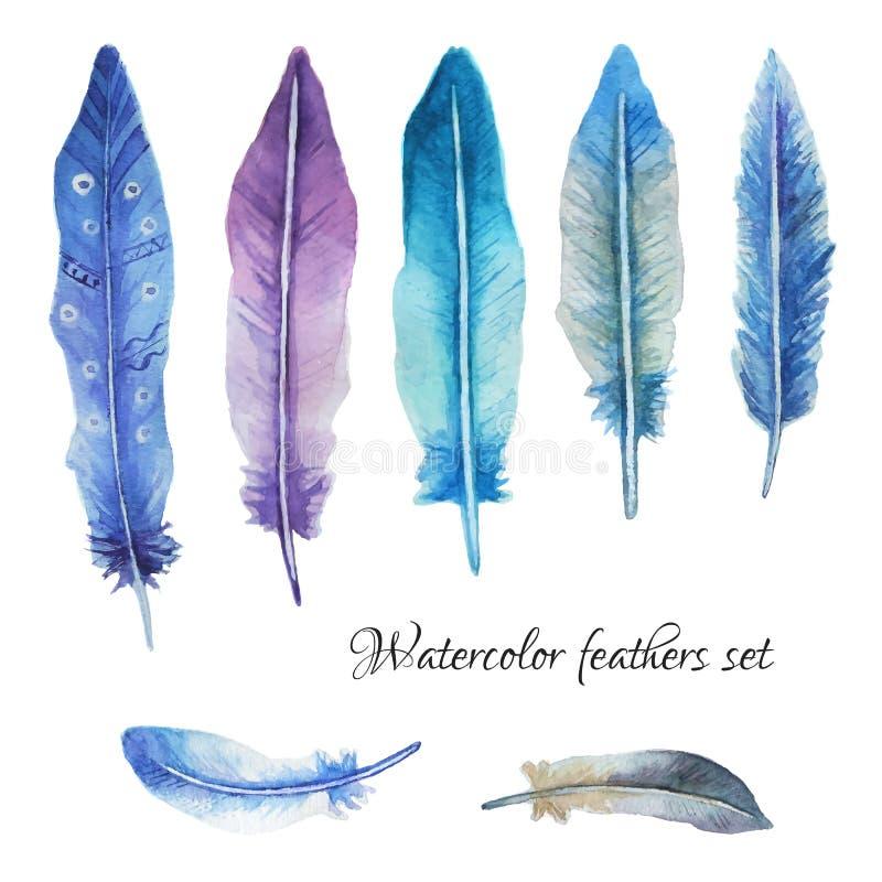水彩羽毛无缝的样式 库存例证