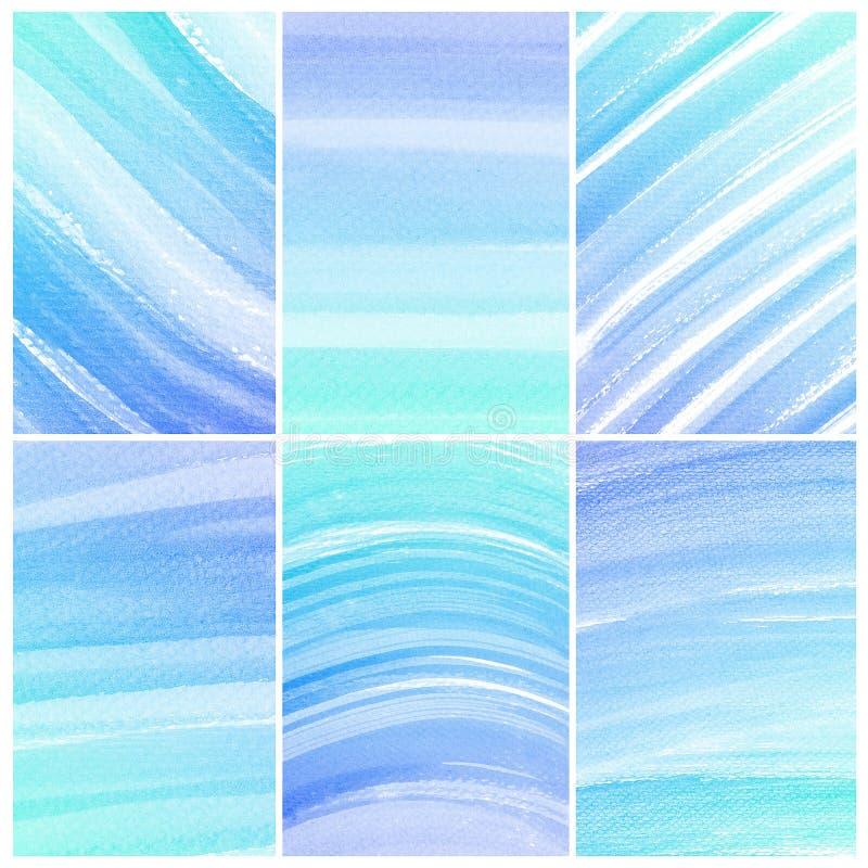 水彩背景。套五颜六色的蓝色抽象水彩 库存例证