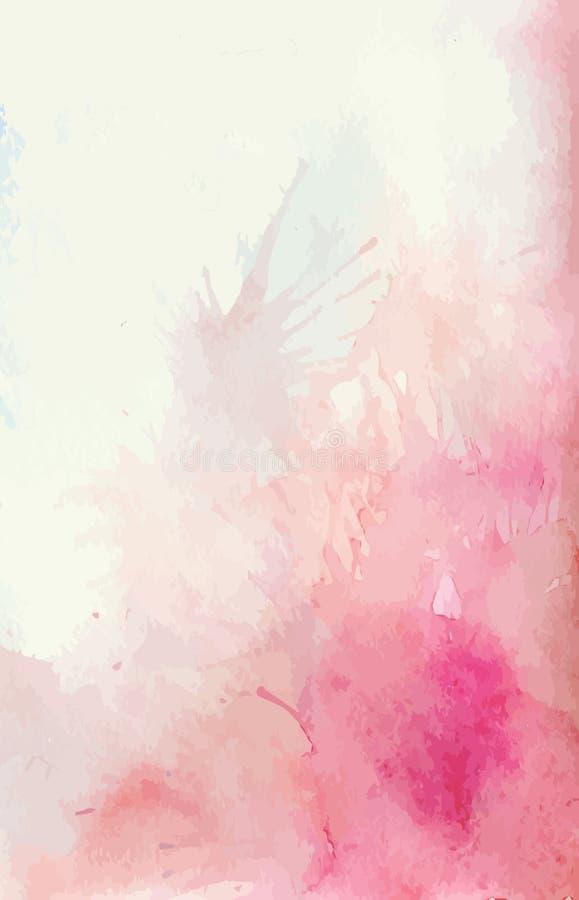 水彩背景与飞溅桃红色和嫩斑点 库存例证