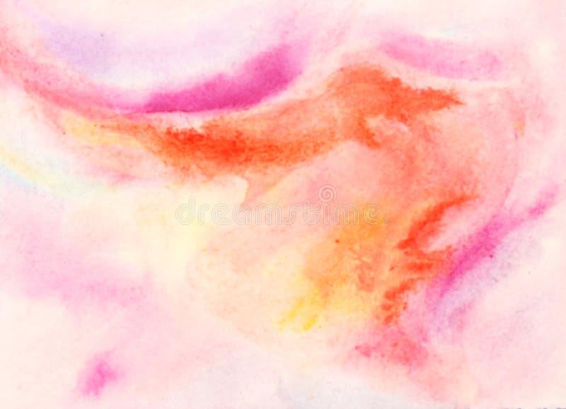 水彩背景桃红色玫瑰色橙色混合 皇族释放例证