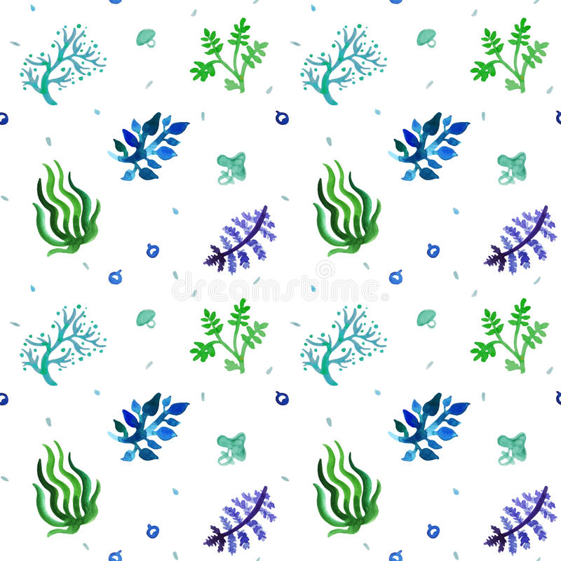 水彩自然无缝的传染媒介样式(蓝色,浅兰,绿色) 草和植物样式 库存例证