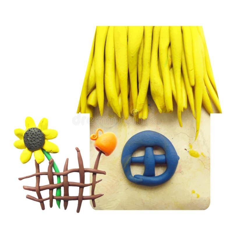 彩色塑泥房子,篱芭,投手象和 皇族释放例证