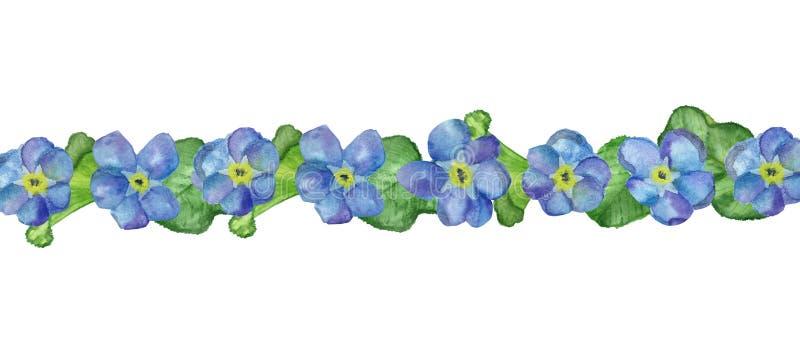 彩色水彩手画方框,用蓝色忘我花和大绿叶作邀请 库存例证
