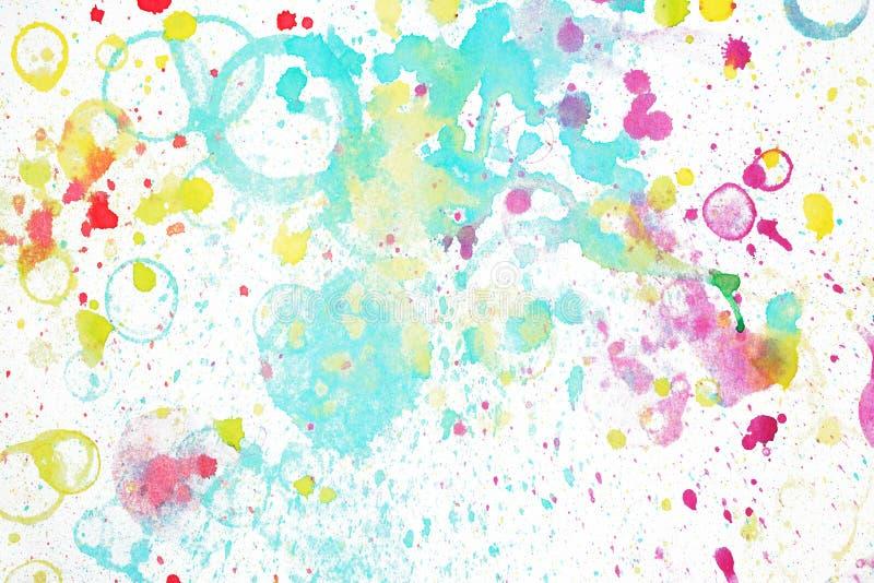 彩色水彩斑点和溅水 水上背景,墙纸 免版税库存照片