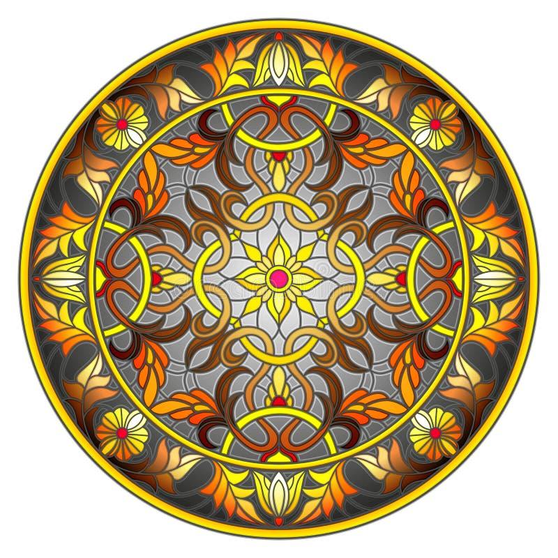 彩色玻璃例证、圆的镜象与花饰和漩涡在黑暗的背景 向量例证